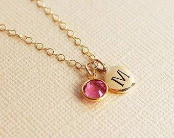 Birthstone necklace letter charm necklace birthstone necklace for mom birthstone necklace with letter charm initial necklace  gift new mom
