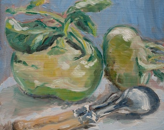 """Original Small Oil Painting 15cm x 15cm 5.9"""" x 5.9"""" Winter Vegetables Turnip Cabbage & Silver Cutlery"""