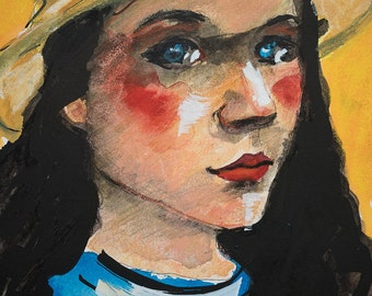 Small & Fun Original Mixed Media Painting On Paper 26cm x 18cm Cartoonish Young Woman With Sunhat
