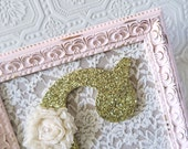Baby Girl Nursery Decor, Girl Nursery Letters, Letter Frame, Pink and Gold, Wall Letters, Shabby Chic Nursery Decor