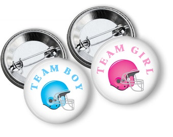 Gender Reveal Party Football Helmet Team Boy Team Girl  Party Favors  1.25 inch Pin Back  Buttons Pink Blue Baby Shower