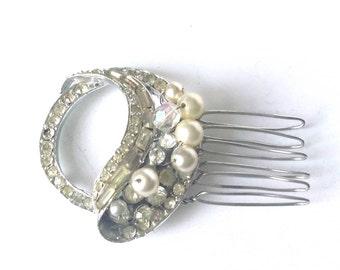 Vintage 1950's hair comb, rhinestone bridal comb,  hair comb, Art Deco wedding