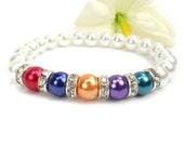 Mothers Pearl Birthstone Bracelet: Stretch Relationship Birthstone Bracelet, Gift For Mom, Grandmother