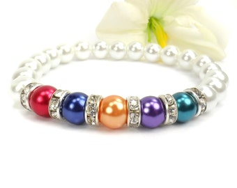 Mothers Pearl Birthstone Bracelet: Stretch Relationship Birthstone Bracelet, Gift For Mom, Grandmother