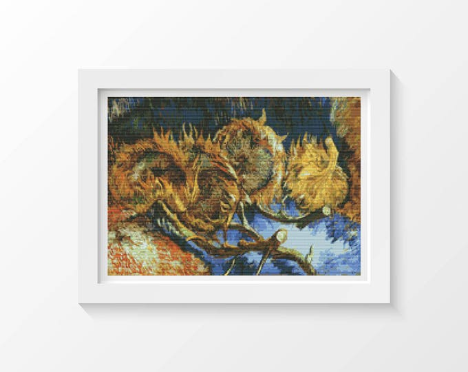 Cross Stitch Pattern PDF, Embroidery Chart, Art Cross Stitch, Still Life with Four Sunflowers by Vincent van Gogh (VGOGH26)
