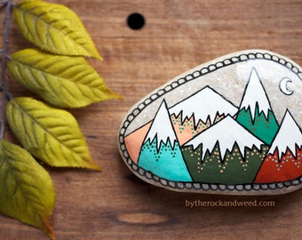 "Mountain Painted Rock, 2.5"" by 3.75"" Hand-Painted Stone, Painted Mountains, Painted Rock Paperweight"