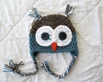 Baby Owl Hat, Crochet Owl Hat, Baby Animal Hat, Blue Owl Hat, Earflap Hat, 0-3,3-6,6-9,9-12 Months, SHIPS WITHIN 1-2 WEEKS
