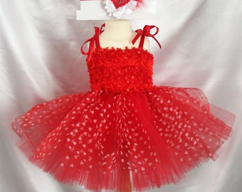 Red White Valentines Day Heart Fuzzy Tutu Dress and Headband