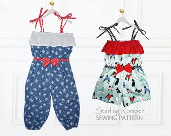 Romper Pattern, Girls Romper Pattern, Girls Sewing Pattern PDF, Romper Sewing Pattern, Childrens sewing pattern, Shorts Pattern, STARLING