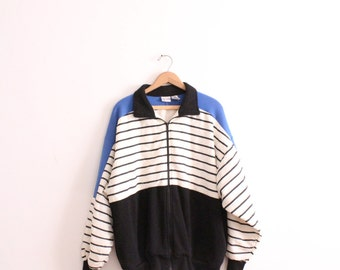 Sporty Striped 90s Sweatshirt Jacket