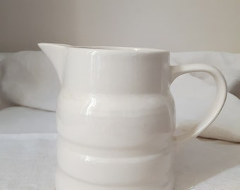 Lovely small white Melba ware vintage banded ironstone jug/creamer/pitcher