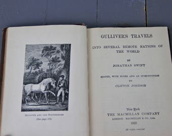 Antique 1920s Gulliver's Travels Jonathan Swift Classic Literature Collectible Hardback Book Satire Fantasy Fiction English Teacher Gift