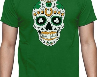 St. Patrick's Day Irish Sugar Skull - Men's Short Sleeve T-Shirt
