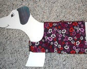 """RESERVED Purple Multi Colored Flowers Cotton Dog Walking Harness Vest,  Tweenie Doxie girth 19"""""""