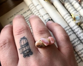 Wire wrapped PINK opal hammered ring with brass wire