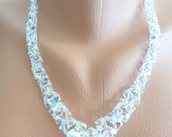 Swarovski Crystal V Necklace- Swarovski Crystal Bridal Necklace- Swarovski Crystal Beadweave Bridal Necklace- 572