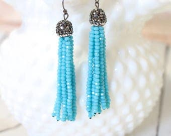 The Sofia - Pave and Turquoise - Gunmetal Earrings