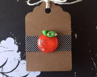 Glam Apple Pin - Red Glitter Apple with Rhinestones - Teacher Gift - Lapel Pin