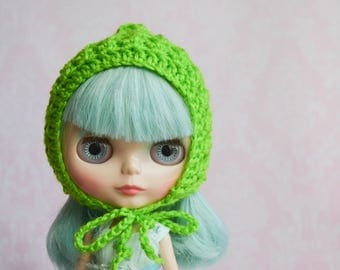 Handmade Crocheted Pixie Hat for Blythe - Acrylic Yarn - Green