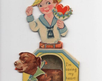 Antique Die-Cut Mechanical German Valentine Dog Doghouse Theme! Made In Germany