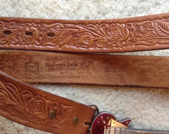 Rare Hand Tooled Leather Belt Stamped #001 by Sheyenne Belts  /  70s Cowhide Leather Belt Number 001 & Guitar Buckle Unisex