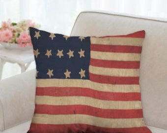 4th of July Rustic Country Flag Pillow