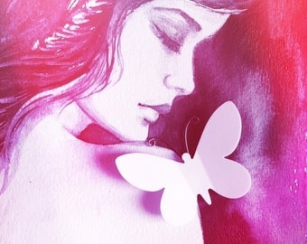 Butterfly Kisses - Art Print from Original Watercolor - Fashion Painting - Modern Home decor - Fashionista Wall Art - Cool Colors Decor