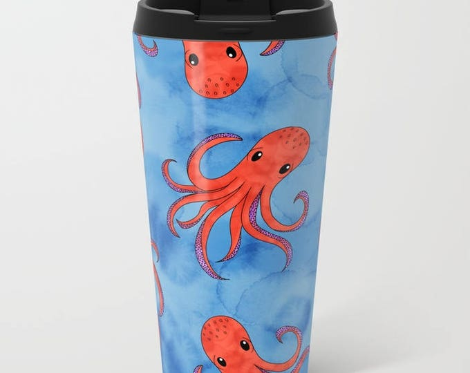 Blue Travel Mug Metal - Coffee Travel Mug - Orange Octopus - Hot or Cold - 15oz Mug - Stainless Steel - Made to Order