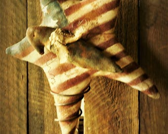 Primitive Grungy Americana Flag with Crow on Ole Bedspring