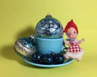 Vintage Blue Christmas Ornament Set, Shiny Brite, Stencil, Ball, 1950's- 60's