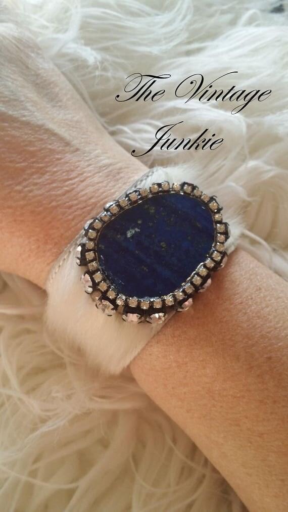 Boho Cowhide Cuff with Brilliant Blue Agate Slab and Repurposed Rhinestones