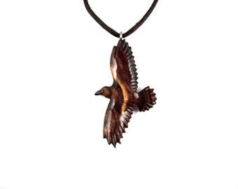 Raven Necklace, Raven Pendant, Raven Jewelry, Crow Pendant, Crow Necklace, Wooden Raven Pendant, Raven Totem, Spirit Animal Crow Jewelry