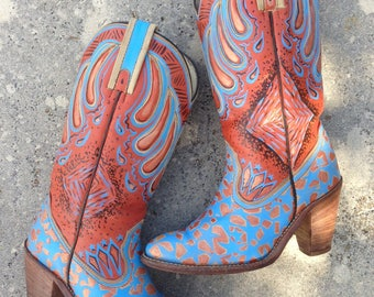 Vintage, Hand Painted, Up Cycled Leather Frye Boots // Size 6 //