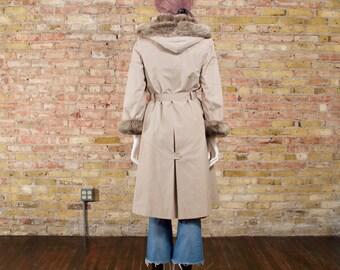 pokrovka 70s faux fur lined hooded coat / khaki coat / long 70s jacket / faux fur winter jacket / winter parka / russian jacket / hooded