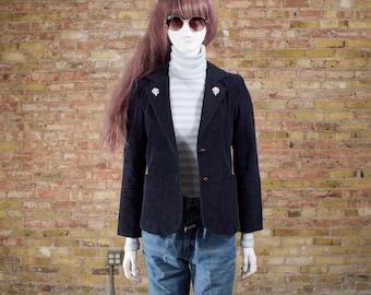 tomorrow's party 70s corduroy blazer / navy blazer / shruken blazer / navy blue jacket / 70s womens blazer / menswear inspired / retro