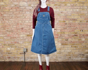 OSHKOSH denim overall dress / pinfore dress / denim dress / suspender dress / jumper dress / 80s overall dress / oshkosh bgosh