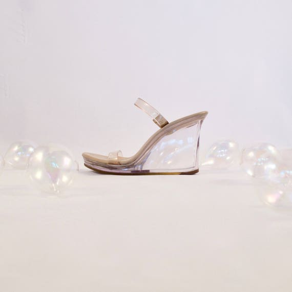 DKNY clear wedge sandals / clear sandals / 90s sandals / platform wedge sandal / 5.5 - 35.5 / minimalist / clear heel sandals / clear wedges