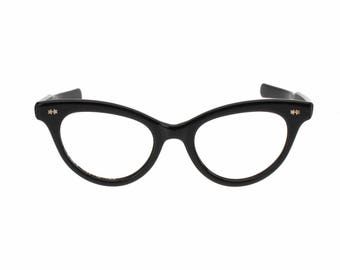 Authentic 1950s rockabilly - pin up vintage black cateye eyeglasses - sunglasses frames hand made in France, new and unworn deadstock.