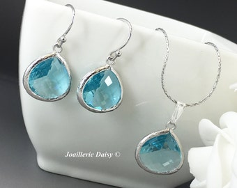 Dangle Turquoise Jewelry Bridesmaid Necklace Bridesmaid Gift Mothers Day Gift for Her Aquamarine Earrings Blue Earrings Aqua Wedding Gift