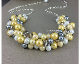 Pearl Cluster Necklace, Yellow and Gray Necklace, Bridesmaids Jewelry Necklace Yellow Necklace Wedding Gift for Maid of Honor