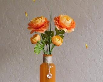 Elegant Orange Flowers in a Glass Vase, Flowers, Indoor, Desktop