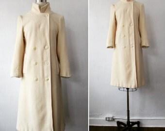 1970s coat | vintage 70s coat | vintage wool coat | cream winter coat | small - medium | The Forecaster Winter Wool Coat
