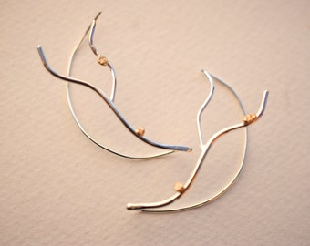 Double Branch Vine Roots Earrings with Raw Gold Accents Twig Sterling Silver Handmade Dangle Nature Jewelry