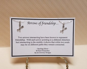 Matching Friends Necklaces Arrows of Friendship Meaning Gift Sterling Silver Crossed Arrows Jewelry