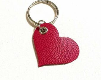 Leather heart keyring // pink heart keychain // key ring // key chain