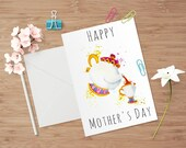 Mother's Day Greeting Card Happy Mother's Day A6 Watercolour Mrs Potts and Chip Beauty and the Beast Greeting Card