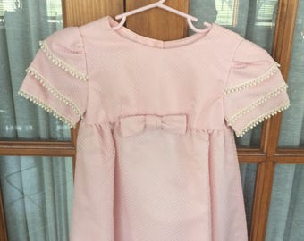 Vintage Girls Easter Party Long Dress Size 6 ? Pink Dotted Swiss Wedding Flower Girl Junior Bridesmaid Clothing