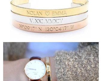 COORDINATE CUFF - longitude latitude jewelry - GPS location cuff bracelet - best friend gift - gold cuff