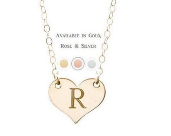 PERSONALIZED HEART NECKLACE - heart necklace - silver heart necklace - gold heart necklace - tiny heart necklace - initial heart necklace