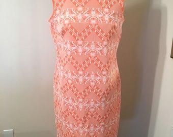 Vintage 1970s Orange and White Textured Sleeveless Shift Dress 60s Mod Retro Bright Dress Go Go Dancer Floral Flowers Tank Top Dress